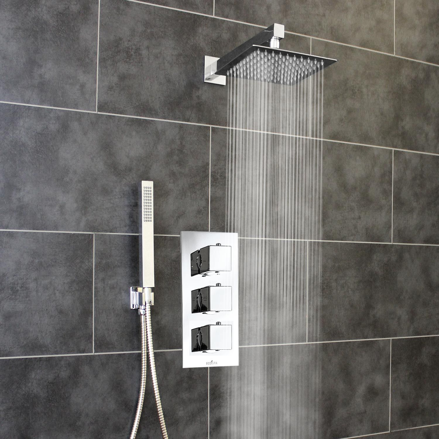 2 Way Shower Valve 3 Square Handles With Ultra Thin 200mm
